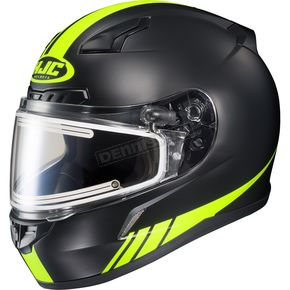 HJC Matte Black/Hi-Viz Neon Green CL-17SN Streamline MC-3HF Snowmobile Helmet w/Electric Shield - 57-29536