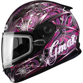GMax Youth Black/Pink/Purple GM49Y Flurry Snowmobile Helmet with Dual Lens Shield - 72-5978YS