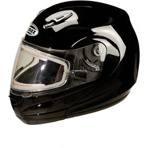 GMax Black GM44S Modular Snowmobile Helmet with Electric Shield - 72-6228XS