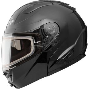 GMax Black GM64S Modular Snowmobile Helmet with Dual Lens Shield - 72-62603X