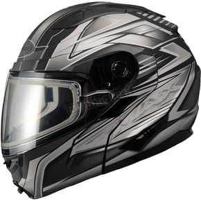 GMax Matte Black/Dark Silver GM64S Carbide Modular Snowmobile Helmet with Dual Lens Shield - 72-6266S