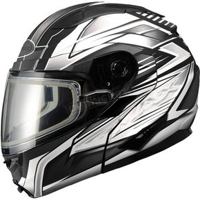 GMax Matte Black/White/Silver GM64S Carbide Modular Snowmobile Helmet with Dual Lens Shield - 72-6267M