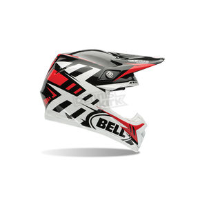 Bell Helmets White/Black/Red Moto-9 Syndrome Carbon Flex Helmet - 7060836
