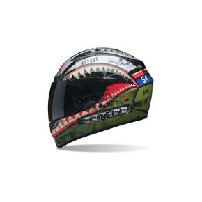 Bell Helmets Matte Green/Red/Blue Qualifier DLX Devil May Care Helmet - 7061908