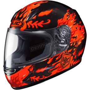 HJC Youth Black/Red/Orange CL-Y Flame Face MC-1 Helmet - 55-1912