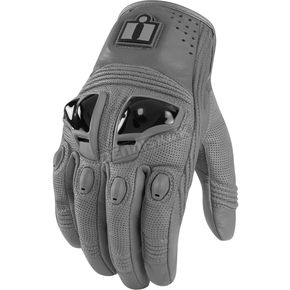Icon Grey Justice Leather Gloves - 3301-1562