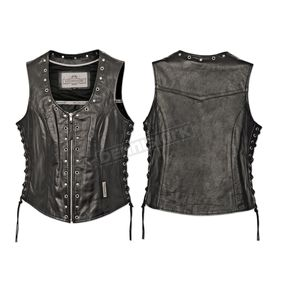 Milwaukee Motorcycle Clothing Co. Womens Black Daisy Vest - MV3680L