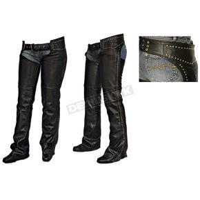 Milwaukee Motorcycle Clothing Co. Womens Black Studded Chaps - MV8580S