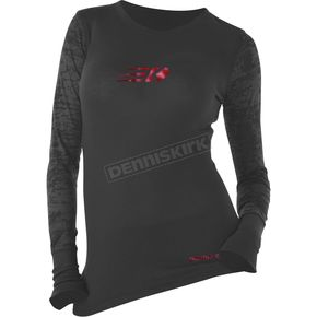 Dennis Kirk Inc. Womens Black Burnout Long Sleeve T-Shirt - BURN LS