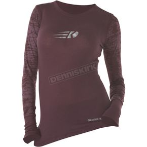 Dennis Kirk Inc. Womens Plum Burnout Long Sleeve T-Shirt - BURN LS