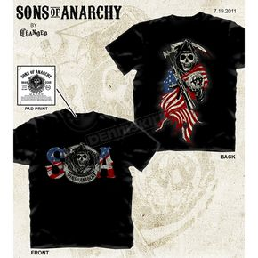 Sons of Anarchy Reaper Colored Flag T-Shirt - 28-635-103BK-XXL