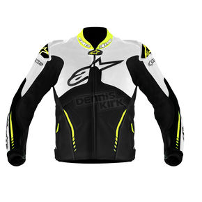 Alpinestars White/Black/Fluorescent Yellow Atem Leather Jacket - 3106513-215-48