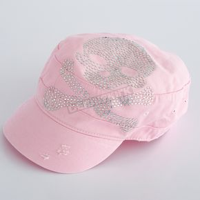 Easyriders Roadware Womens Distressed Pink Skull Cadet Hat  - 7323