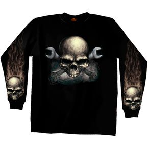 Hot Leathers Skull and Cross Wrench Long Sleeve T-Shirt - GMS2155L
