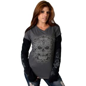 Hot Leathers Womens Victorian Skull Long Sleeve Shirt - GLF3037L