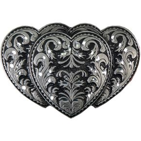Hot Leathers Womens Pewter Triple Heart Belt Buckle - BBA1024