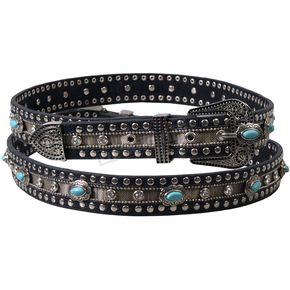 Hot Leathers Womens Leather Studded Belt with Turquoise Medallions - BLA1068L
