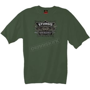 Hot Leathers Olive Drab Green Official 2012 Sturgis Classic Label T-Shirt - SPM1085L