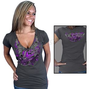 Hot Leathers Womens Charcoal Official 2012 Sturgis Flying Heart T-Shirt - SPL1050L