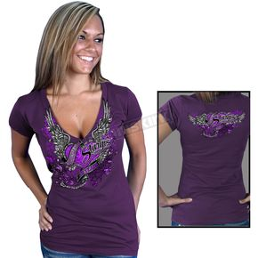 Hot Leathers Womens Plum Official 2012 Sturgis Flying Heart T-Shirt - SPL1051L