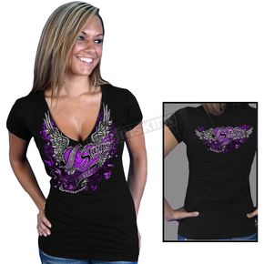 Hot Leathers Womens Black Official 2012 Sturgis Flying Heart T-Shirt - SPL1046L