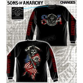 Sons of Anarchy Reaper and Flag Long Sleeve T-Shirt - 28-435-108BK-XXL