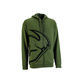Thor Military Green Split Zip-Up Hoody - 30501882