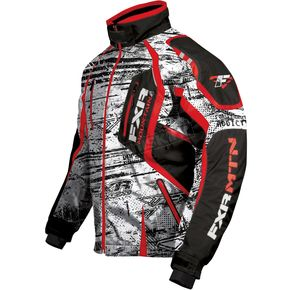 FXR Racing White Warp/Red Vapour Jacket - 13140