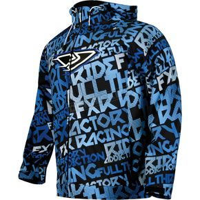 FXR Racing Blue/White Grind Disturbed Traction Tri-Laminate Hoody - 2920
