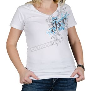 FXR Racing Womens White/Blue Scroll T-Shirt - 2933