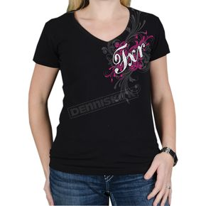 FXR Racing Womens Black/Fuchsia Scroll T-Shirt - 2933