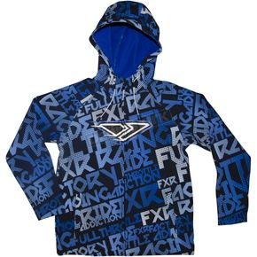 FXR Racing Youth Blue/White Grind Ridge Tri-Laminate Hoody - 2925