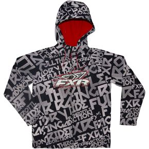 FXR Racing Youth Black/White Grind Ridge Tri-Laminate Hoody - 2925