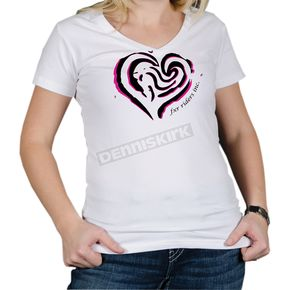 FXR Racing Womens White Heart T-Shirt - 2935