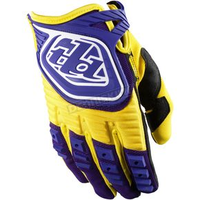 Troy Lee Designs Youth Yellow/Purple GP Gloves - 0653-0506
