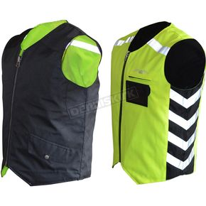 Missing Link Black/Hi-Viz Green Military Duty Reversible Safety Vest - MDVG3