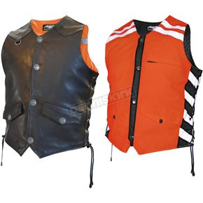 Missing Link Mens Black/Orange G2 D.O.C. Reversible Safety Vest - G2RVMO3