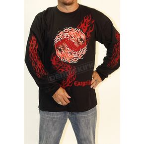 Easyriders Roadware Black Flaming Yin Yang Long Sleeve T-Shirt - 5097XXXL