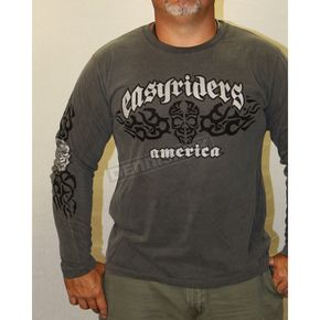 Easyriders Roadware Washed Charcoal Celtic Skull Long Sleeve T-Shirt - 5309L
