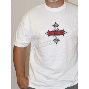 Easyriders Roadware White Flame Cross T-Shirt - 8155XL