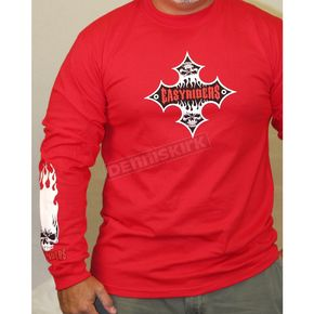 Easyriders Roadware Red Flame Cross Long Sleeve T-Shirt - 8179L