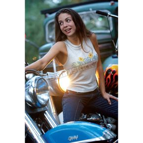 Easyriders Roadware Womens Oatmeal Sunflower Tank  - 1121L