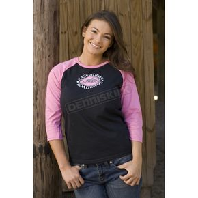 Easyriders Roadware Womens Pretty in Pink 3/4 Sleeve Tee - 3160L