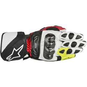 Alpinestars Red/Black/Fluorescent Yellow SP-1 Leather Glove - 3558113-316-L