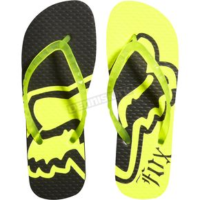 Fox Womens Day Glo Yellow Core Flip Flops - 04547-268-10