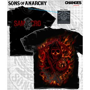 Sons of Anarchy Reaper Logo Flames T-Shirt - 28-635-212-XXL