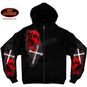Hot Leathers Skulls and Crosses Zip Hoody - GMZ4209XXXL