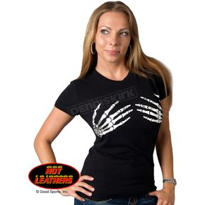 Hot Leathers Womens Skeleton Hands T-Shirt - GLC1012S