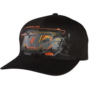 Fox Black KTM Layout Flex-Fit Hat - 07394-001-L/XL