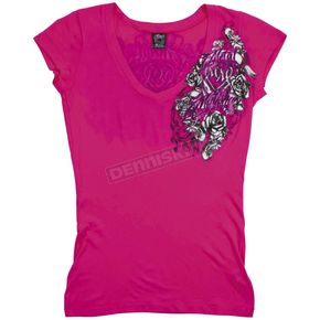 Metal Mulisha Royal Flush Womens Hot Pink T-Shirt - 35-0775